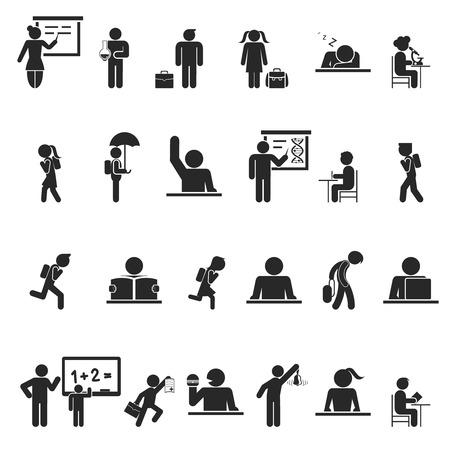 niños estudiando: Conjunto de iconos de la escuela los niños silueta negro