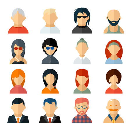 middle aged woman: Set of user avatar icons in flat style Illustration