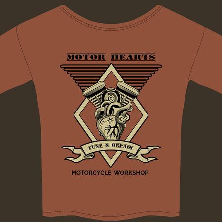 Motor Hearts Motorcycle Workshop Vector