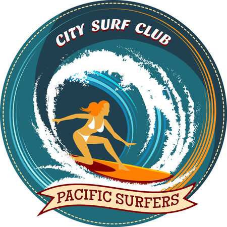 Surfing badge design with a girl surfing Vector