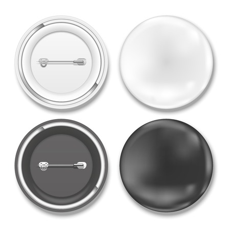 realist: black and white badges