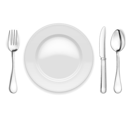 flatware: empty plate, spoon and fork