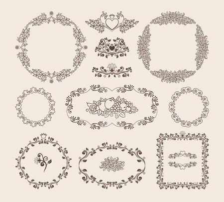 surround: Set of ornamental vector frames and badges Illustration