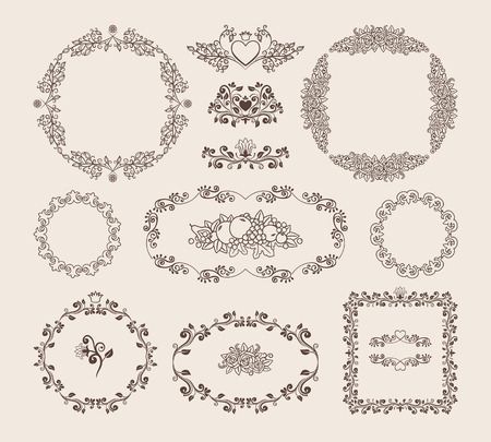 Set of ornamental vector frames and badges Illustration