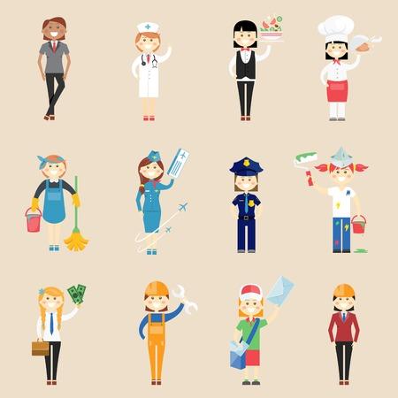 air hostess: caractères de fille en vêtements professionnels