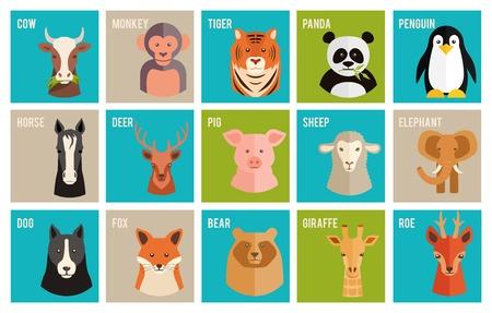 jirafa caricatura: Iconos de vector de animales y mascotas en estilo plano