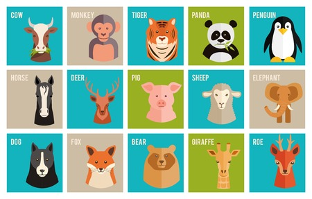 Vector icons of animals and pets in flat style Illustration