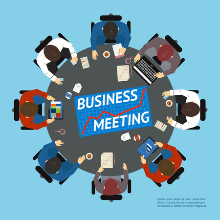 negotiating: Business people at a negotiating table Illustration