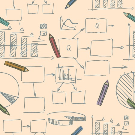 Business doodle sketch seamless pattern Vector