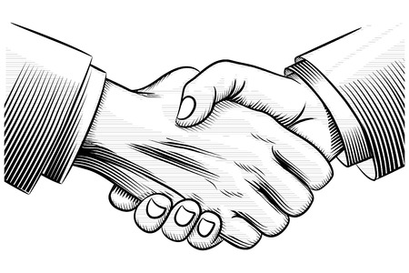 sketch handshake Ilustração