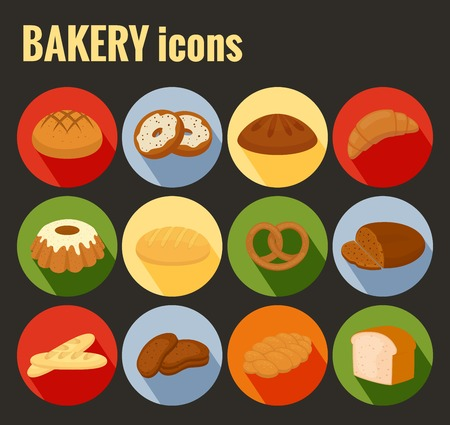 Set of colored vector bakery icons Vector