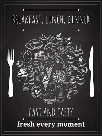 place setting: Vector Vintage Food Poster