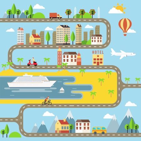 winding roads: Vector Small Town Cityscape Illustration