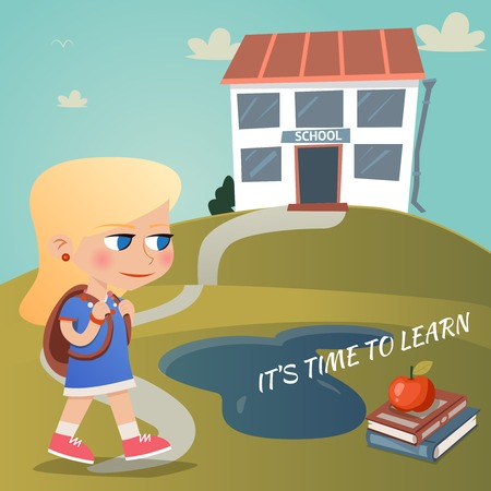 high school girl: Its time to learn Illustration
