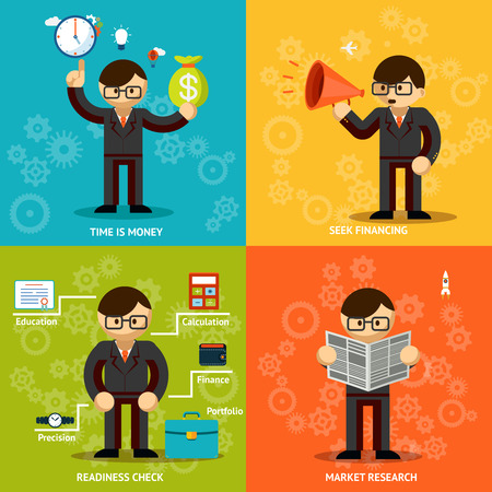 backing: Businessmen Icons in Variety Colored Backgrounds Illustration