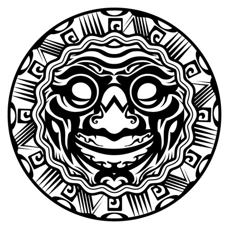 divinity: Round Vector Smiling Face Polynesian Tattoo