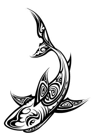 Vector Shark Polynesian Tattoo