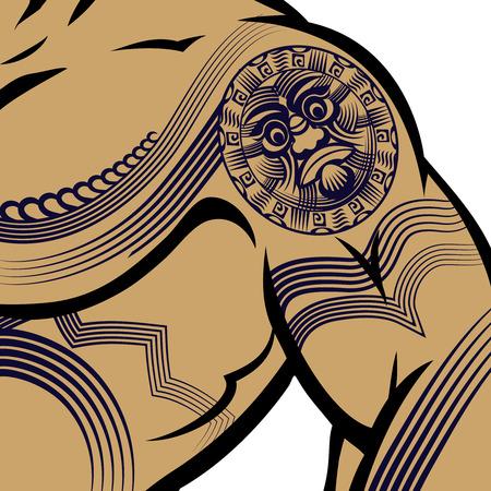 bicep: El hombre musculoso con el tatuaje de la Polinesia Vectores