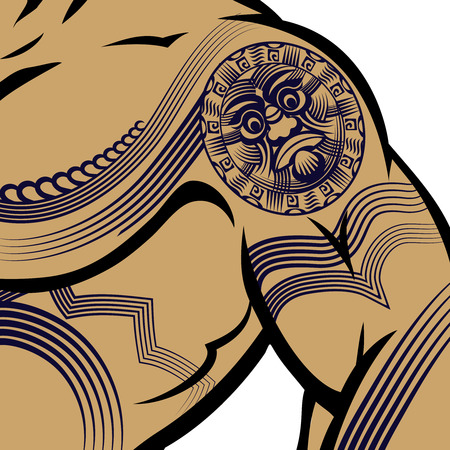 arm muscles: Muscled Man with Polynesian Tattoo Illustration