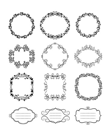 cartouche: Rounded Black Vector Vintage Floral Ornamental Frames and Borders for Card Decorations