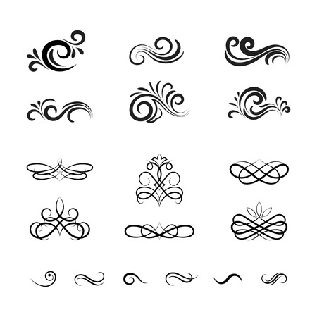 scrolls: Beautiful Vintage Vector Decorative Elements and Ornaments for Graphic Designing such as in Web Pages and Greeting Cards. Illustration
