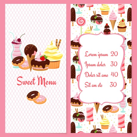 bakery price: Colorful vector dessert menu template for restaurants with a framed price list surrounded by ice cream  candy  sweets  pastries and desserts on one half and the text Sweet Menu on the other Illustration