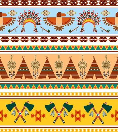chieftain: Vector Seamless Tribal Ethnic Background Vintage Disegni grafici Vettoriali