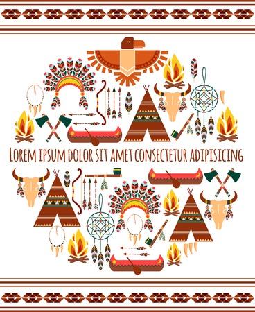 chieftain: Attraente Seamless colorato Tribal Distintivo americano etichetta isolato sfondo bianco