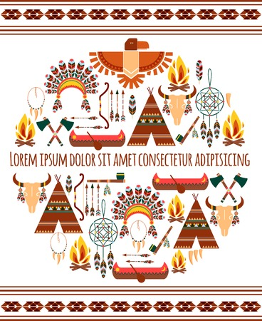 Attractive Seamless Colored Tribal American Badge Label  Isolated White Background