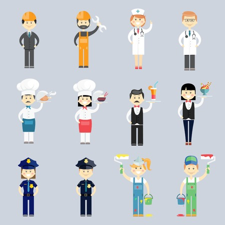 Mężczyzna i kobieta wektor znaków profesjonalny zestaw z lekarza i pielęgniarki kucharz i kucharz kelner kelnerka sierżantów policji i dekoratorów wnętrz i pracowników budowlanych