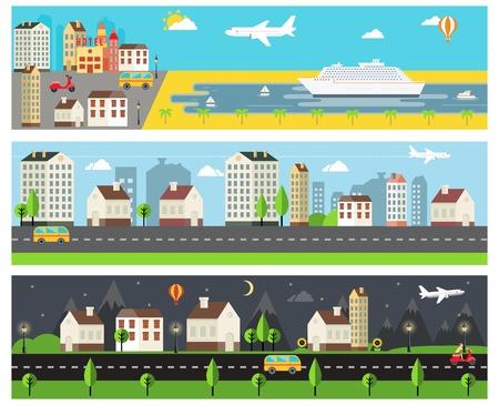 urban: Cool Vector Cartooned Embankment  Rural and Urban Road Banners