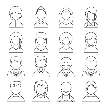 featureless: vector outline user icons, people black silhouettes on white background