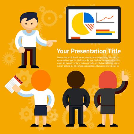 hablar en publico: Vector Presentación del negocio o Hablando de Diseño Público fondo aislado Naranja Vectores