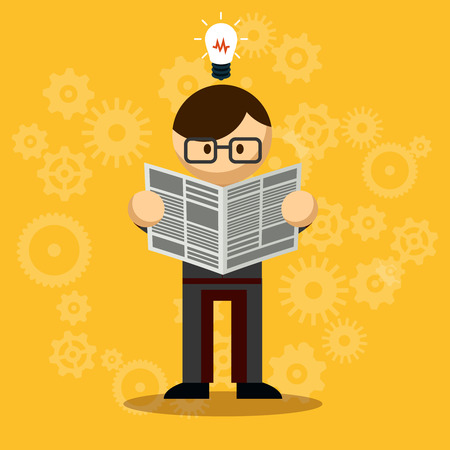 news update: Vector Businessman Reading Newspaper with bulb above the head  Emphasizing New Knowledge. Isolated on Orange Background Illustration