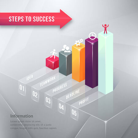 bar chart: Road to Success Colored Business Chart Infographic Element  Isolated on Gray Background.