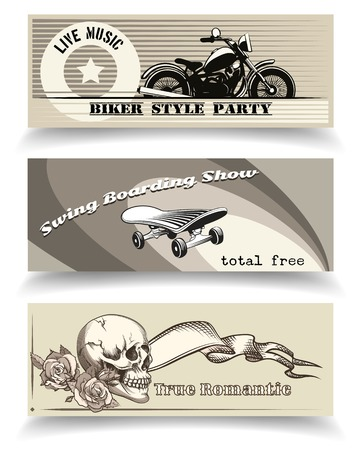 vector biker, skater and romantic banners templates
