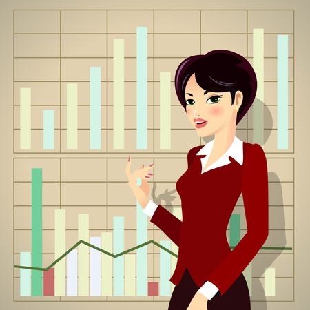 Business Woman in Red Corporate Attire Cartoon Presenting Business Progress Vector
