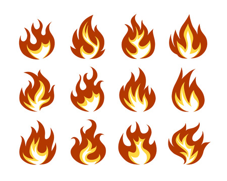 Vector Fire Flame Icon Set in Flat Style  Isolated on White Background.
