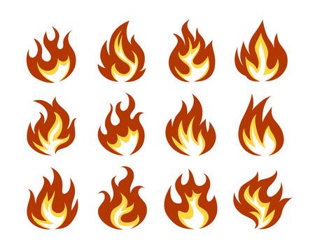 Wektor zestaw ikon Ogień Płomień Flat Style Pojedynczo na białym tle.