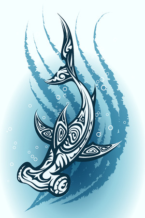pez martillo: Tiburón martillo con un patrón tribal decorativo nadar a través del agua azul ilustración vectorial Vectores