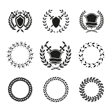 Variety Vector Black and White Shields and Wreaths. Can be Used for Logos. Vector