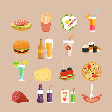 Food icons. Fast-Food, drinks and rolls in flat style Vector