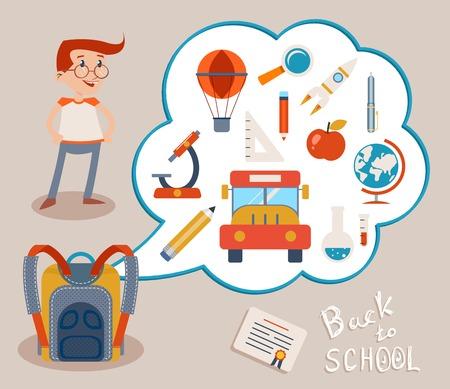 gray backgrounds: Mochila del Estudiante y de la burbuja blanca con Variety Iconos de la educaci�n sobre fondos grises