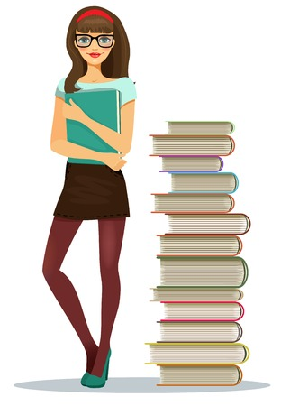 leggy: Beautiful young girl student with stacked books Illustration