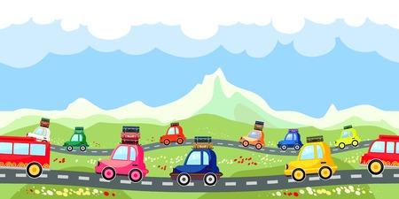 Landelijke weg met een lijn van het toeristisch verkeer