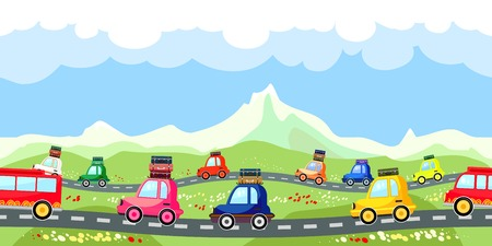 Rural road with a line of tourist traffic Illustration