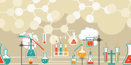 reaction: Chemistry infographic in a seamless pattern