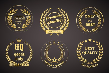 undertaking: Retro Guarantee Labels with Wreaths Illustration