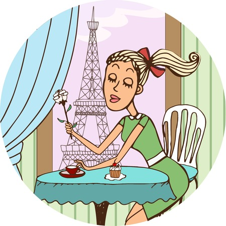 yearning: Young French girl dreaming of love over coffee