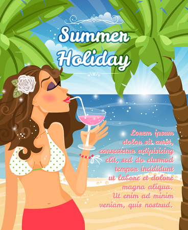 Holiday poster with woman Vector